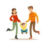 Föräldrar som tillsammans rymmer händer med ungen, lycklig familj som har den bra Tid illustrationen royaltyfri illustrationer
