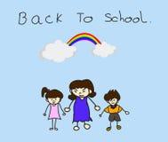 Föräldrar tar deras barn till skolan. Royaltyfria Foton