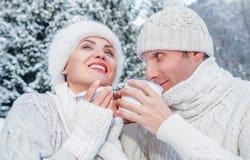 Förälskad drink för slags tvåsittssoffapåkläddpar som är varm av te i vinterskog Royaltyfri Bild