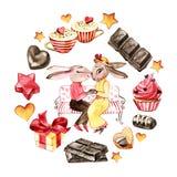 Förälskad Handrawn kanin valentin för dag s Kaniner, choklad och hjärta Vattenfärgillustration på vit bakgrund stock illustrationer