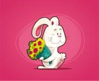 Förälskad kanin med buketten av blommor stock illustrationer