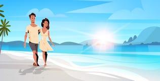 Förälskad mankvinna för par som omfamnar på tropiskt landskap för begrepp för semester för sommar för seascape för soluppgång för vektor illustrationer