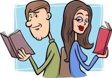 Förälskad tecknad filmillustration för par Arkivbild