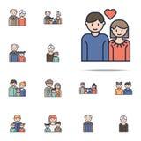 förälskad tecknad filmsymbol för par Universell uppsättning för familjsymboler för rengöringsduk och mobil stock illustrationer