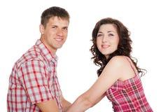 Förälskad ung man och kvinna fotografering för bildbyråer