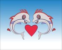 Förälskad vektor för fisk royaltyfri illustrationer