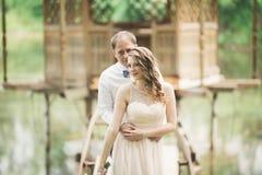 Förälskade älskvärda par kyssa sig på dagbröllopet som utomhus står i parkera nära sjön Royaltyfri Fotografi