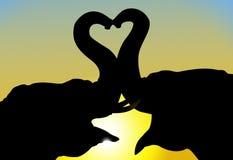 Förälskade elefanter royaltyfri illustrationer