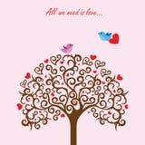 Förälskade förälskelseträd och fåglar Fotografering för Bildbyråer