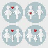 Förälskade gravida par, familj med behandla som ett barn pojken, familj med behandla som ett barn stock illustrationer