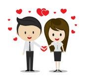 Förälskade innehavhänder för gulliga par, tecknad filmtecken Arkivbilder