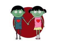 Förälskade levande dödpar Dag för ` s för valentin för hälsningkort lycklig vektor illustrationer