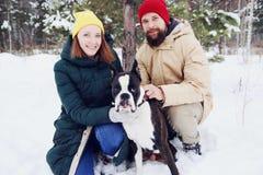 Förälskade lyckliga par ha gyckel i snön med hans behandla som ett barn hunden royaltyfri fotografi