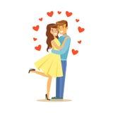 Förälskade lyckliga par, man och kvinna som omfamnar sig, för teckenvektor för romantiskt datum färgrik illustration vektor illustrationer