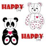 Förälskade nallebjörn och panda Arkivfoton