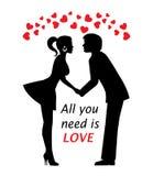 Förälskade par och hjärtor Arkivbilder