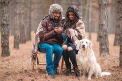 Förälskade par sitter i en skog som täckas i en filt, drinkte från metall, rånar En hund sitter bredvid det utomhus royaltyfria foton