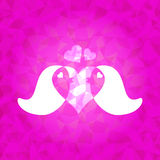 Förälskade parfåglar på rosa färger bländade triangelbakgrund Royaltyfria Foton