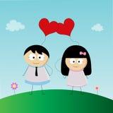 Förälskade pojke och flicka royaltyfri illustrationer