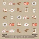Förälskade sötsak och kaffe vektor illustrationer