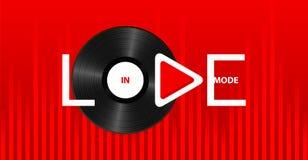 Förälskat funktionsläge för vit inskrift med lekknappen på ljus röd bakgrund med det retro vinylrekordet och den solida vågen royaltyfri illustrationer