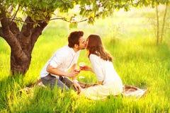 Förälskat kyssa för par i natur Arkivbilder