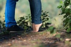 Förälskat med kyssa för par Fotografering för Bildbyråer