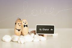 `-förälskelse är där `, Två jordnötter med utdragna framsidor som kramar på rosa vaniljbakgrund Royaltyfri Foto