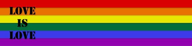 Förälskelse är förälskelse Stil för LGBT-banerregnbåge royaltyfri bild