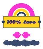 100% förälskelse Stock Illustrationer