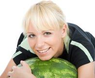 Förälskelse att omfamna wateren-melon Royaltyfria Foton