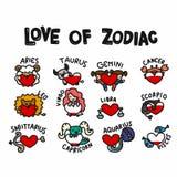 Förälskelse av illustrationen för vektor för zodiaktecknad filmklotter den fastställda royaltyfri illustrationer