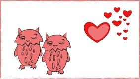 Förälskelse av konst för romans för ugglahjärtapar djur royaltyfri illustrationer