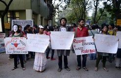 Förälskelse Azadi samlar på Kolkata Royaltyfri Foto