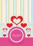 Förälskelse färgar bakgrund med röda hjärtor Arkivbilder