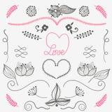 Förälskelse för beståndsdelar för handdrowdesign som är blom-, hjärta - vektoruppsättning Royaltyfria Bilder