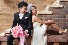 Förälskelse för brud- och brudgumparbröllop Fotografering för Bildbyråer