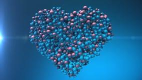 förälskelse för hjärta 3d Att skina klumpa ihop sig ballonger skapar valentinhjärta lager videofilmer
