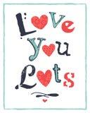 Förälskelse för kort för valentindag typografisk dig lotter Arkivfoto