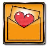 förälskelse för kuverthjärtabokstav Fotografering för Bildbyråer
