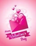 förälskelse för kuverthjärtabokstav valentin för kortdag s också vektor för coreldrawillustration Royaltyfri Foto