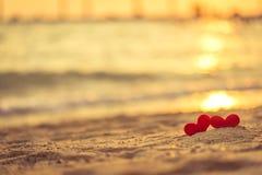 Förälskelse för valentin dag - två röda hjärtor hängde på repet samman med solnedgång Fotografering för Bildbyråer