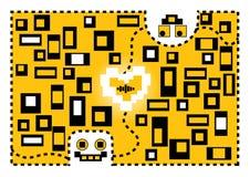 Förälskelse för valentintecknad filmrobotar illustration s för hjärta för green för dreamstime för kortdagdesignen stylized valen royaltyfri illustrationer