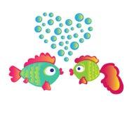 Förälskelse fiskar på vit bakgrund Arkivbild