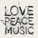 Förälskelse - fred - musik royaltyfri illustrationer