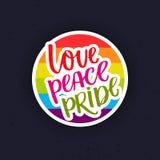 Förälskelse fred, stolthet Regnbågen ståtar flaggaklistermärken Symbol för glad stolthet royaltyfri illustrationer