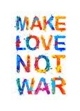 förälskelse gör för att inte kriga Färgstänkmålarfärg vektor illustrationer