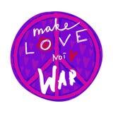 förälskelse gör för att inte kriga Räcka utdragen bokstäver med hippiefredsymbol och hjärtor stock illustrationer