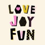 Förälskelse! Glädje! Gyckel! affisch stock illustrationer