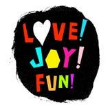 Förälskelse! Glädje! Gyckel! affisch Royaltyfria Bilder